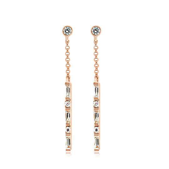 Diamond Baguette Stick Rose Gold Earrings