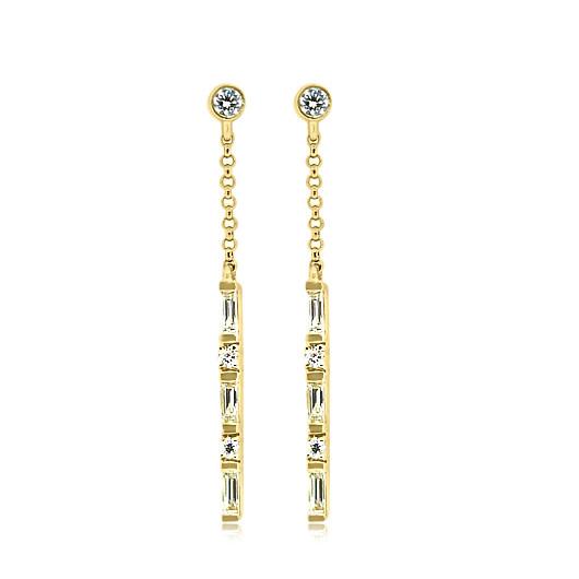 Diamond Baguette Stick Yellow Gold Earrings