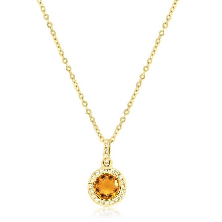 Yellow Gold Diamond Halo & Citrine Pendant
