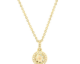 Yellow Gold Diamond Halo & Presiolite Pendant LV111