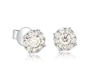 Pave Diamond Cluster Stud Earrings MS20