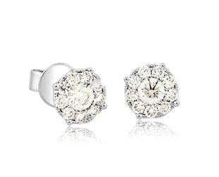 Pave Diamond Cluster Stud Earrings MS20