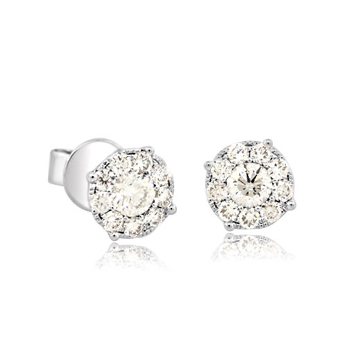 Pave Diamond Cluster Stud Earrings