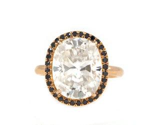 Trabert Goldsmiths 5.55ct Cushion Cut Moissanite Black Dia Ring E1194