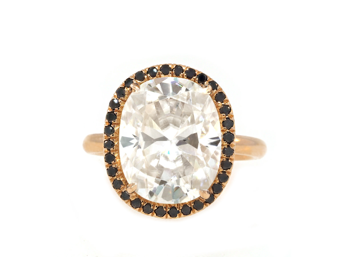 Trabert Goldsmiths 5.55ct Cushion Cut Moissanite Black Diamond Ring