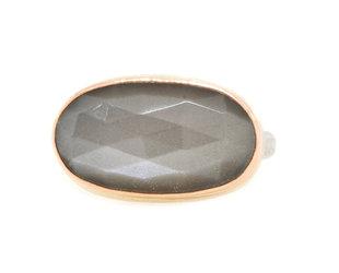 Jamie Joseph Jewelry Designs Faceted Oval Grey Moonstone Bezel Ring JD166