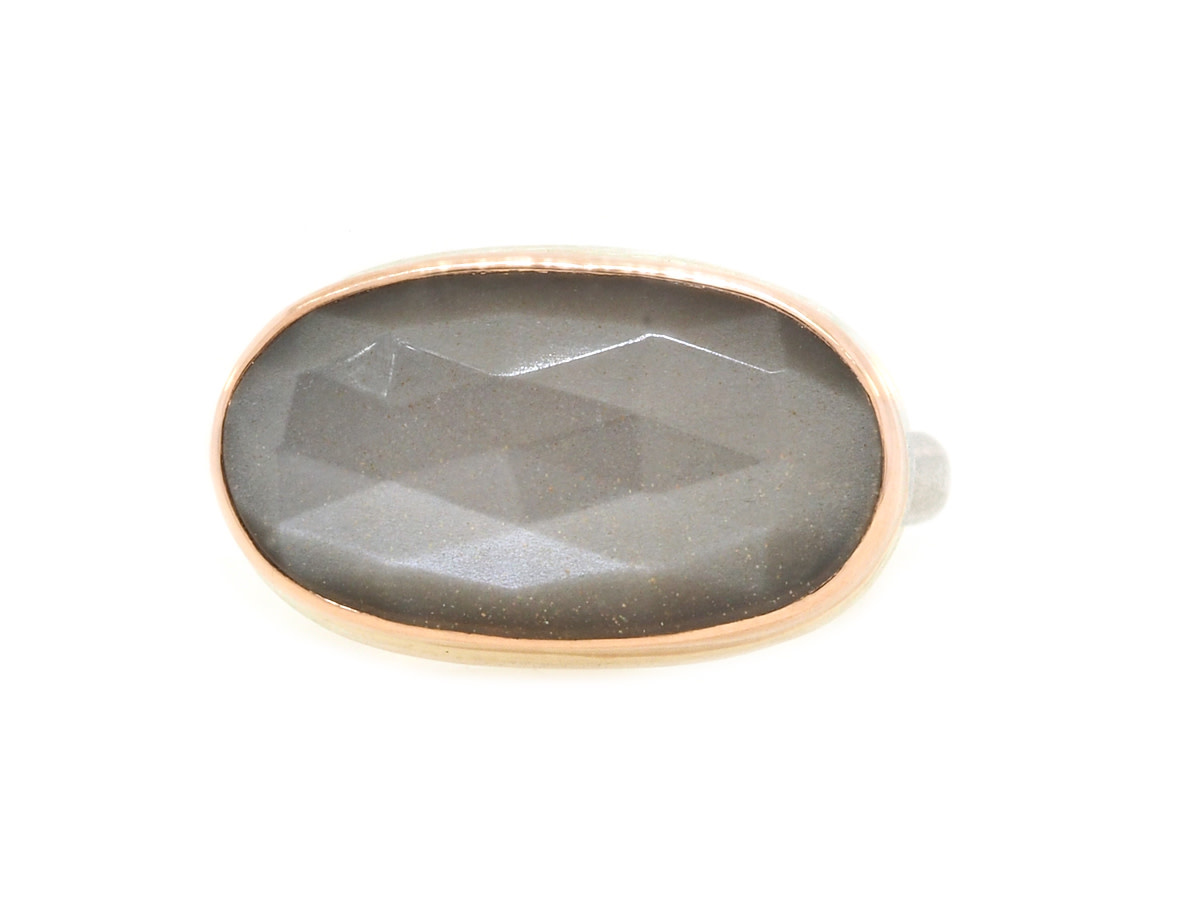 Jamie Joseph Jewelry Designs Faceted Oval Grey Moonstone Bezel Ring