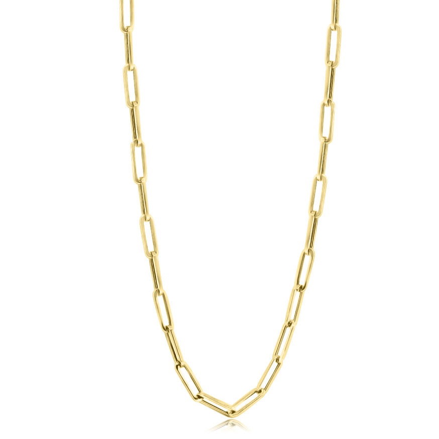 Medium Long Oval Link Yellow Gold Chain