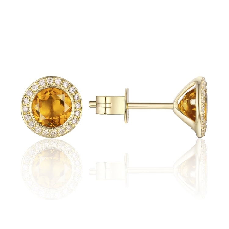 Yellow Gold Diamond Pave & Citrine Earrings