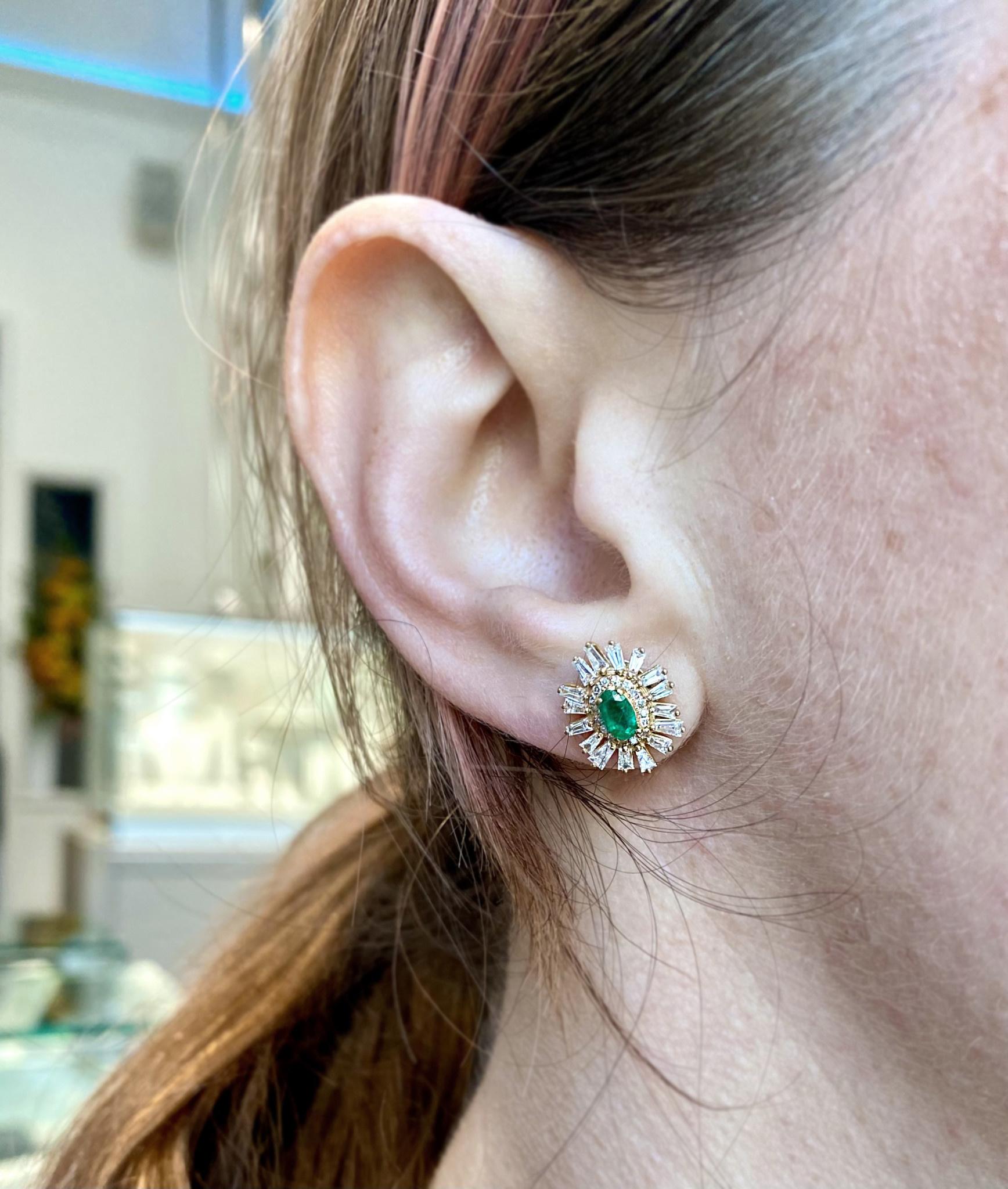 Trabert Goldsmiths Oval Emerald Baguette Diamond Earrings