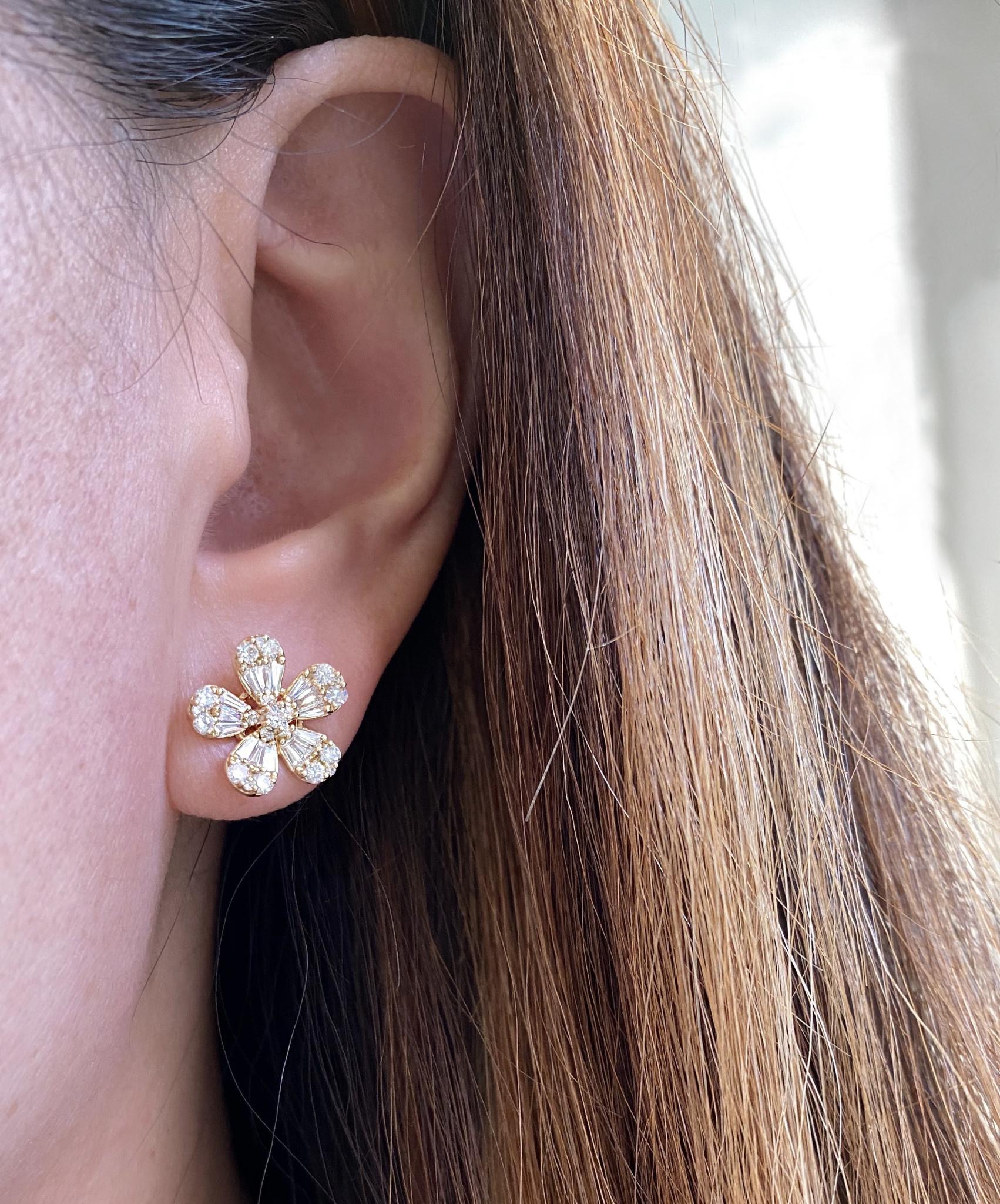 Trabert Goldsmiths Baguette Diamond Flower Stud Earrings
