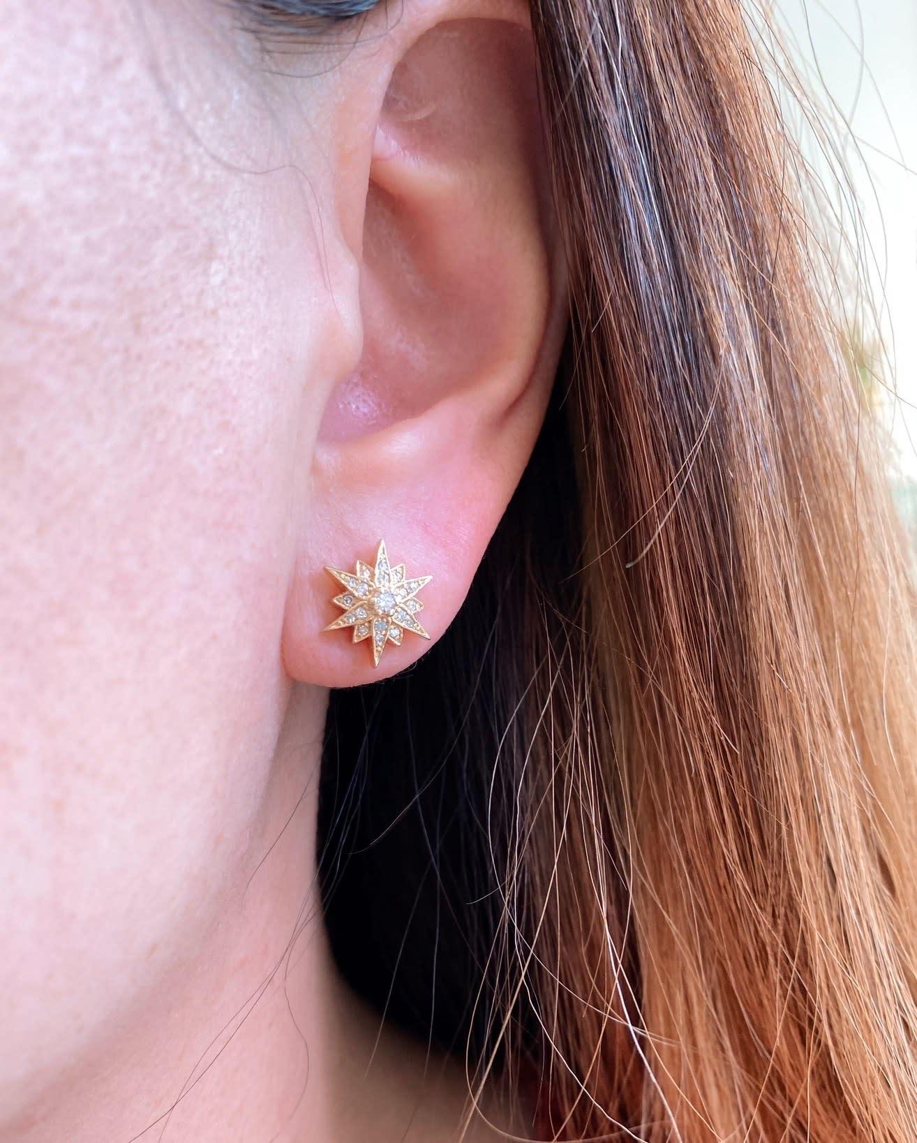 Trabert Goldsmiths Diamond Starburst Stud Earrings