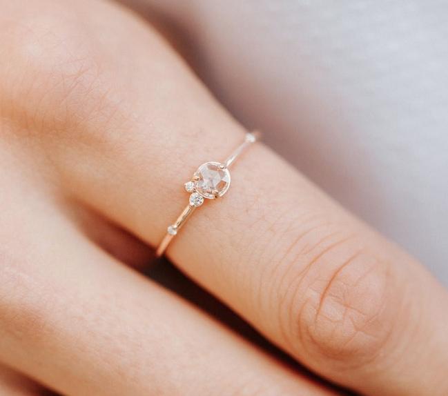 Melanie Casey Flurry Rose Cut Cluster Rose Gold Ring