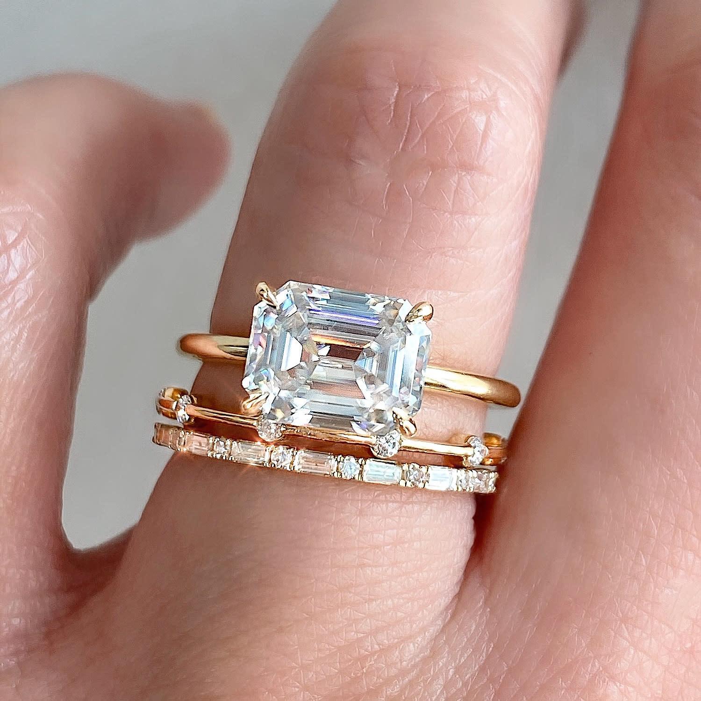 Trabert Goldsmiths 2.35ct Emerald Cut Moissanite Aura Ring