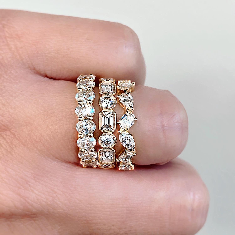Trabert Goldsmiths Round and Baguette Diamond Gatsby Ring