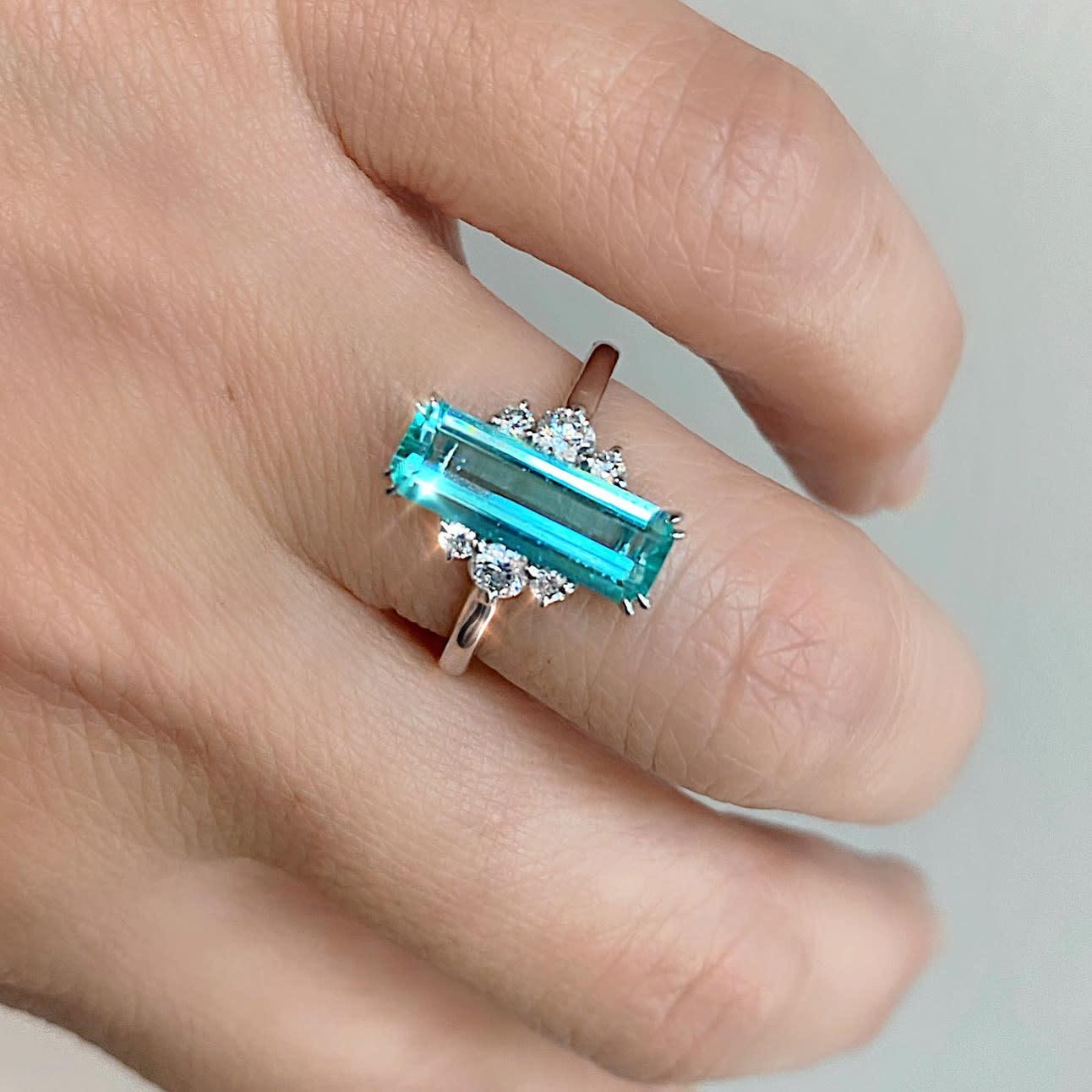 Trabert Goldsmiths 1.78ct Emerald Cut Paraiba Aquamarine Ring