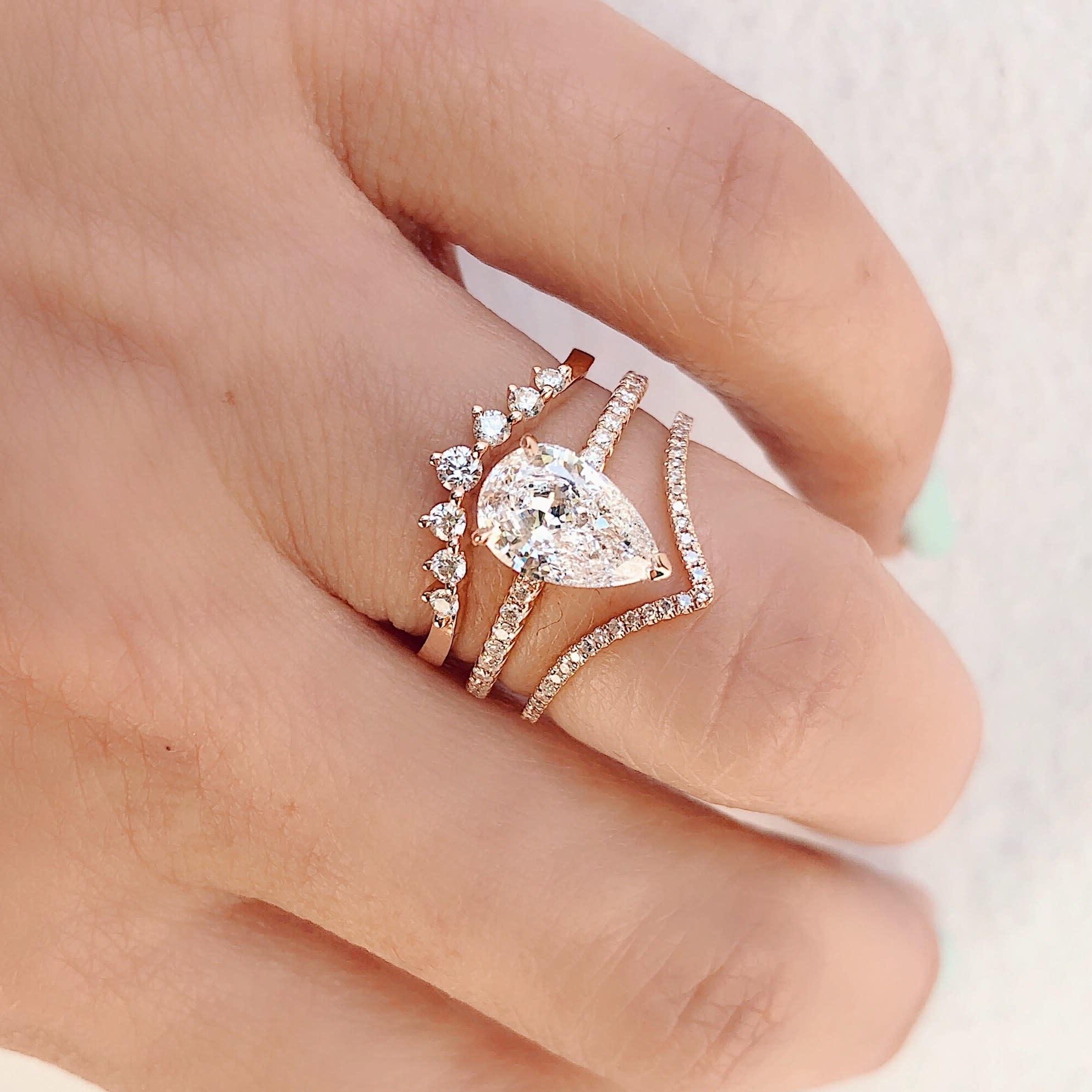 V Shaped Pave Diamond Yellow Gold Ring