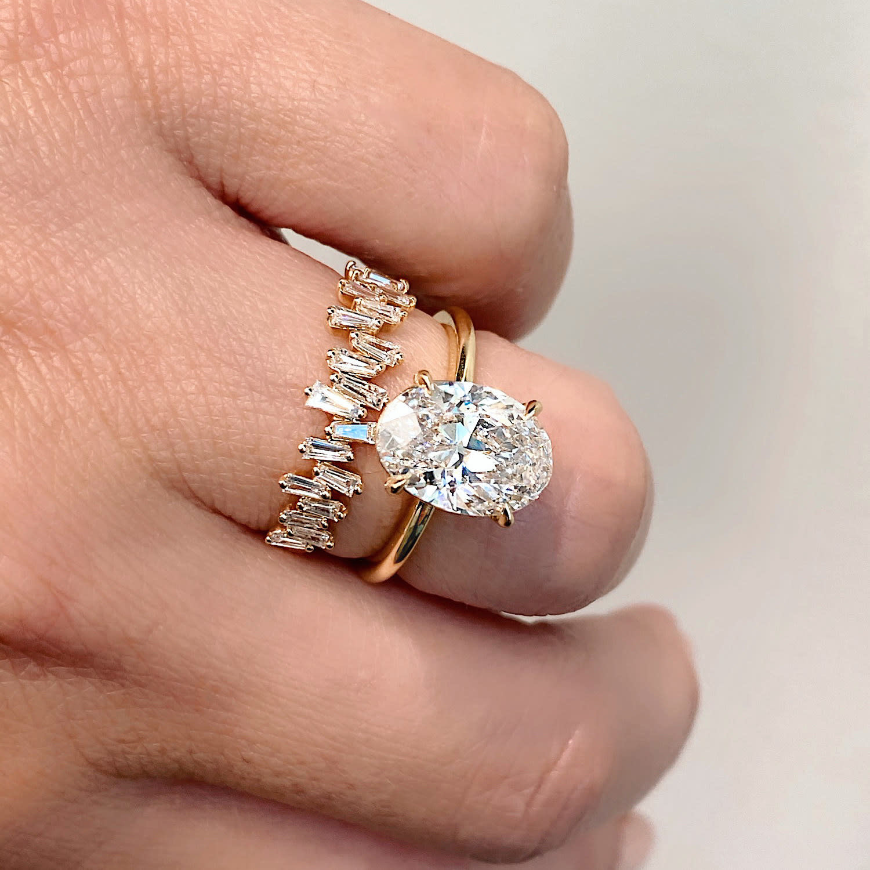 Rose Gold Freeform Baguette Diamond Ring