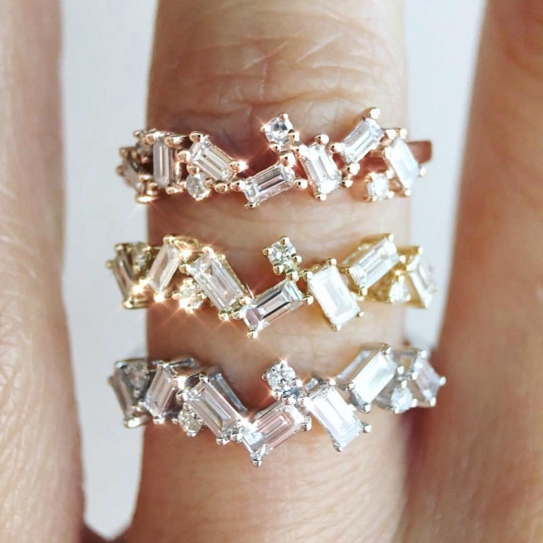Rose Gold Organic Baguette Diamond Ring