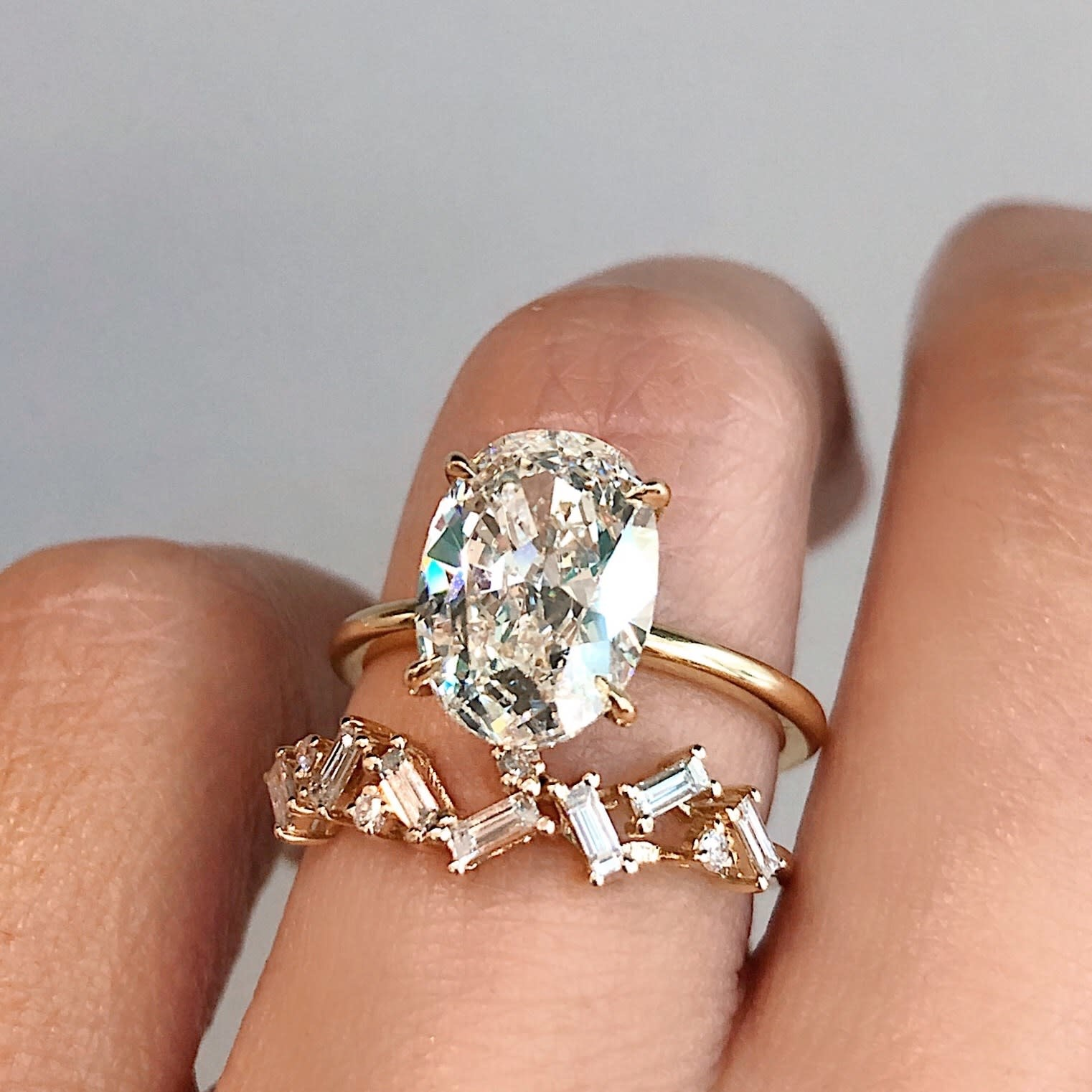 Yellow Gold Organic Baguette Diamond Ring