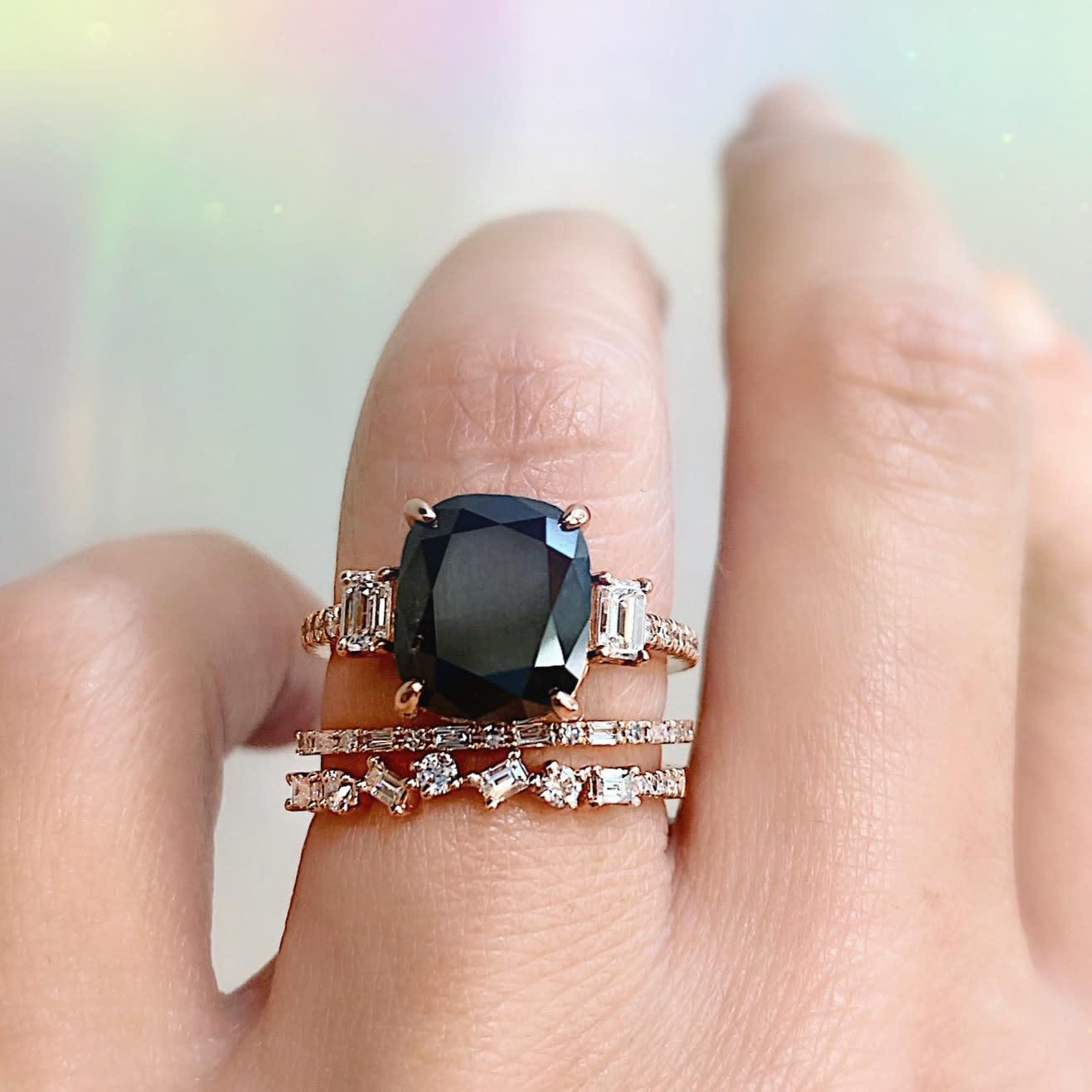 Trabert Goldsmiths 5.05ct Black Cushion Diamond Dark Star Ring