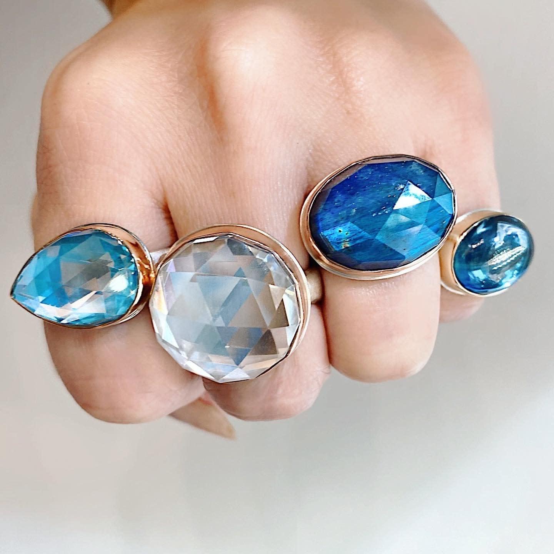 Jamie Joseph Jewelry Designs Faceted Pear Cut Blue Topaz Bezel Ring