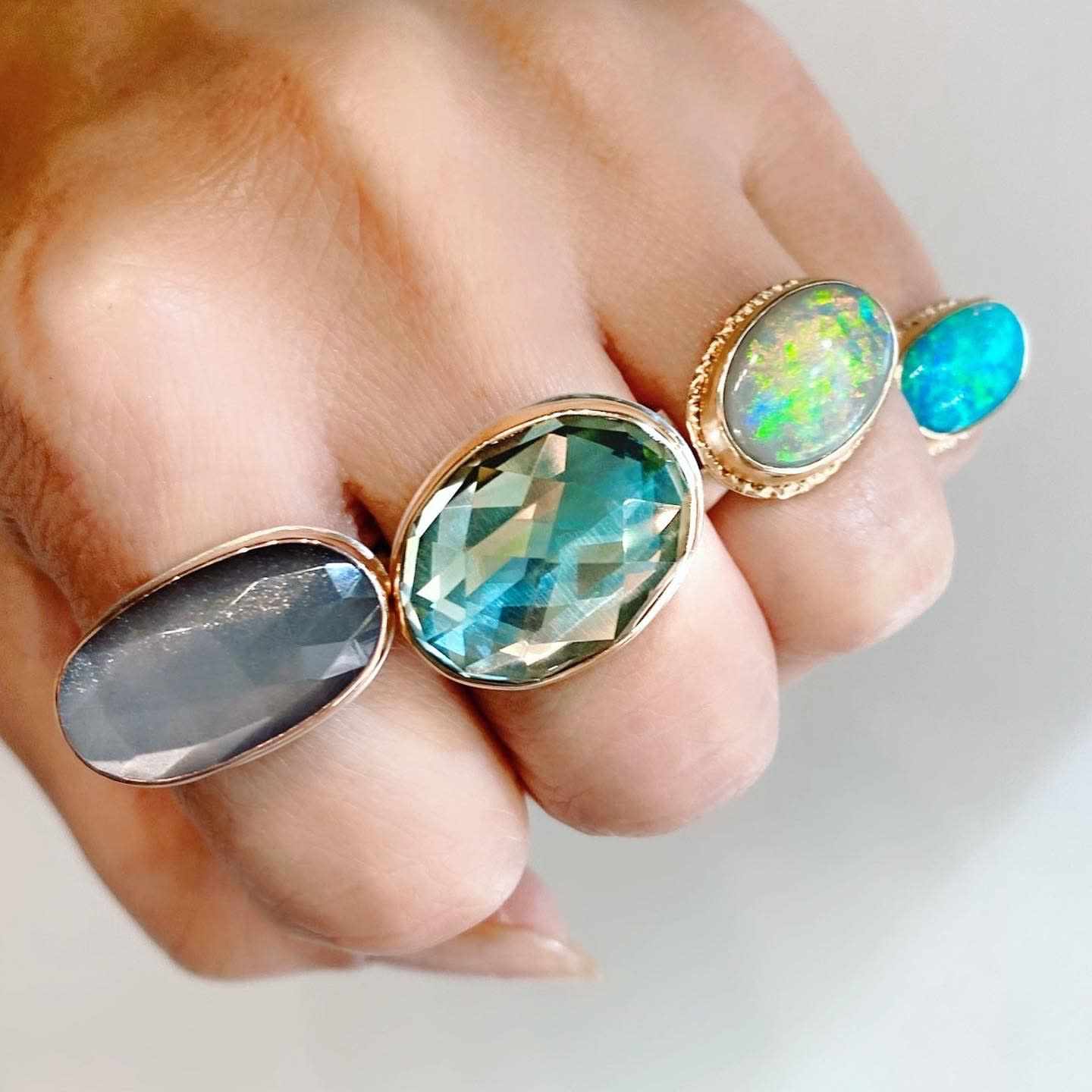 Jamie Joseph Jewelry Designs Oval Australian Black Opal Bezel Ring