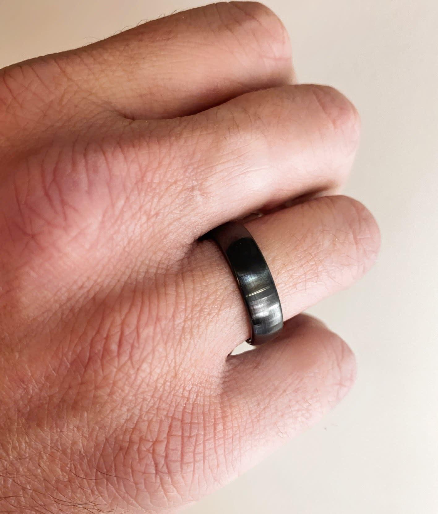 6mm Black Ceramic Half Round Band