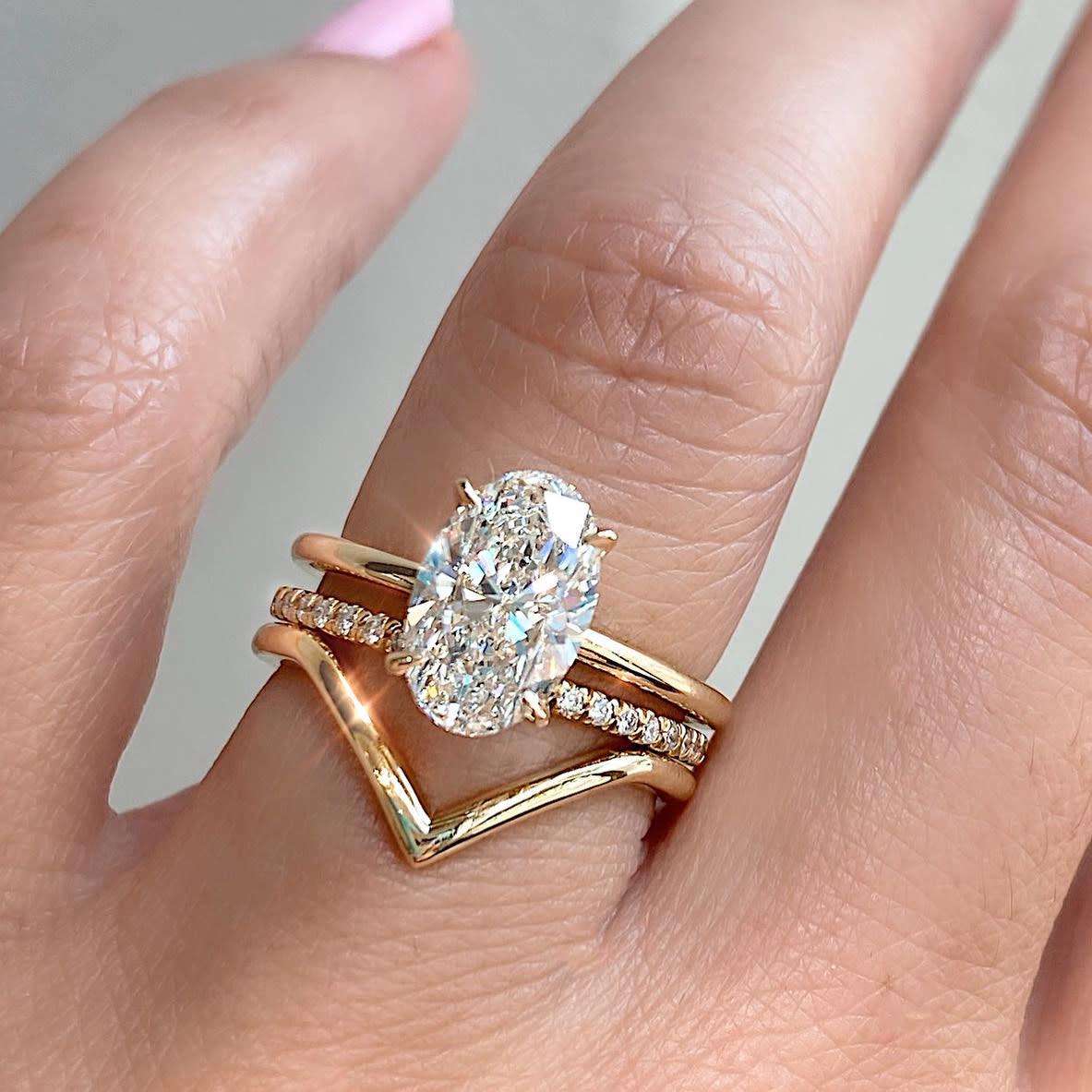 Trabert Goldsmiths Vita V-Shaped 18k Rose Gold Ring