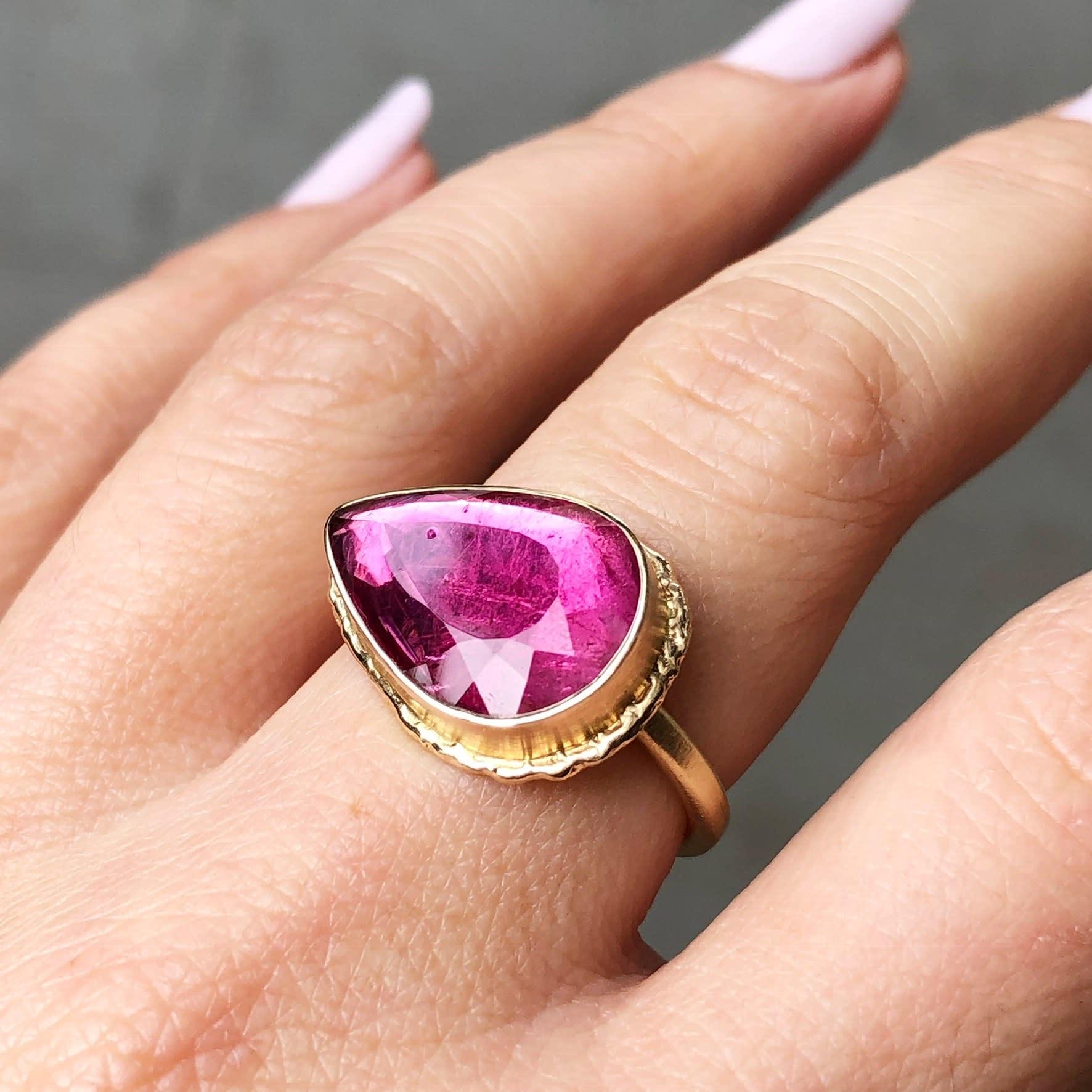 Jamie Joseph Jewelry Designs Pear Cut Rubellite Ring