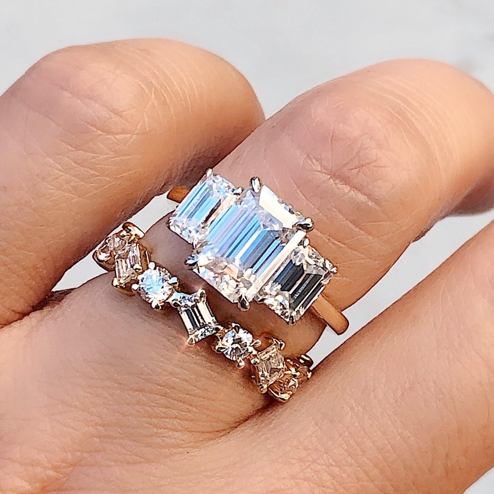 Trabert Goldsmiths 2ct Emerald Cut Moissanite Trinity Ring