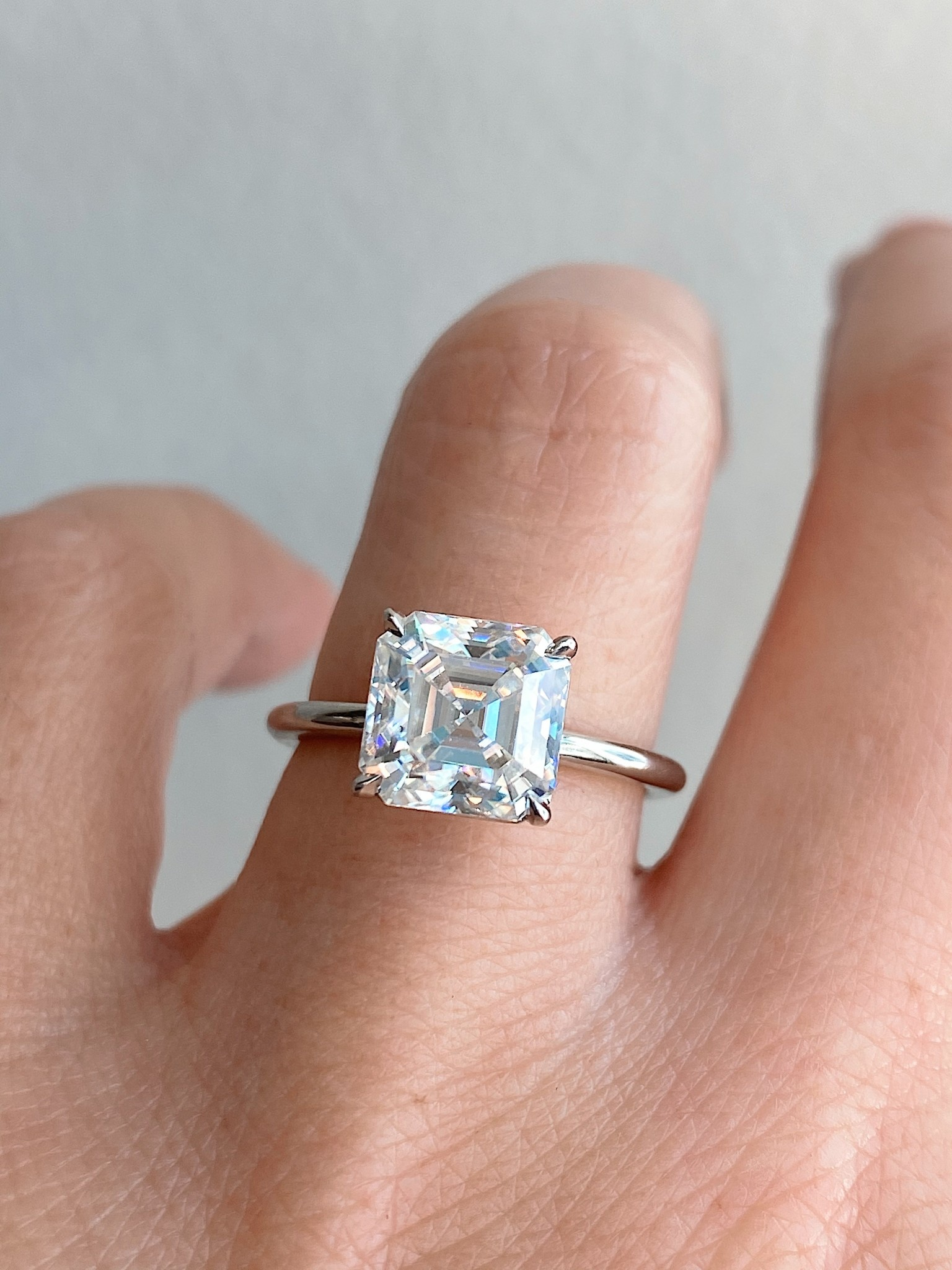 Trabert Goldsmiths 2.75ct Asscher Cut Moissanite Aura Ring