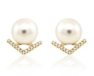 Trabert Goldsmiths Pearl and Diamond V Stud Earrings E2270
