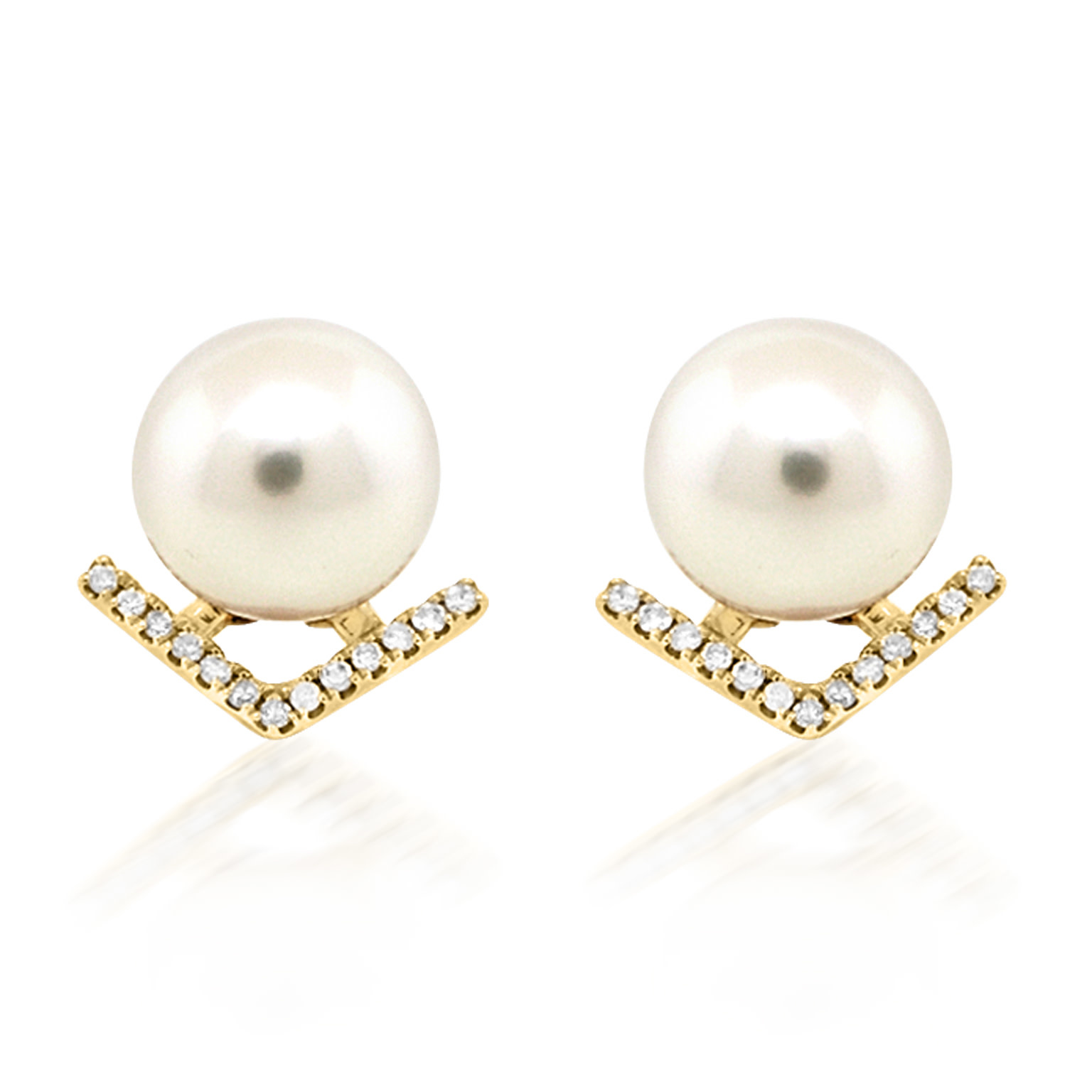 Trabert Goldsmiths Pearl and Diamond V Stud Earrings
