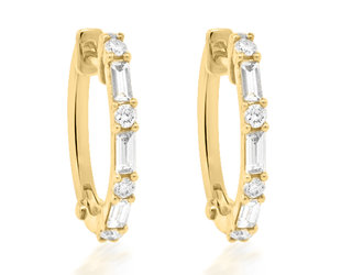 Trabert Goldsmiths Baguette and Round Diamond Hoop Earrings E2272