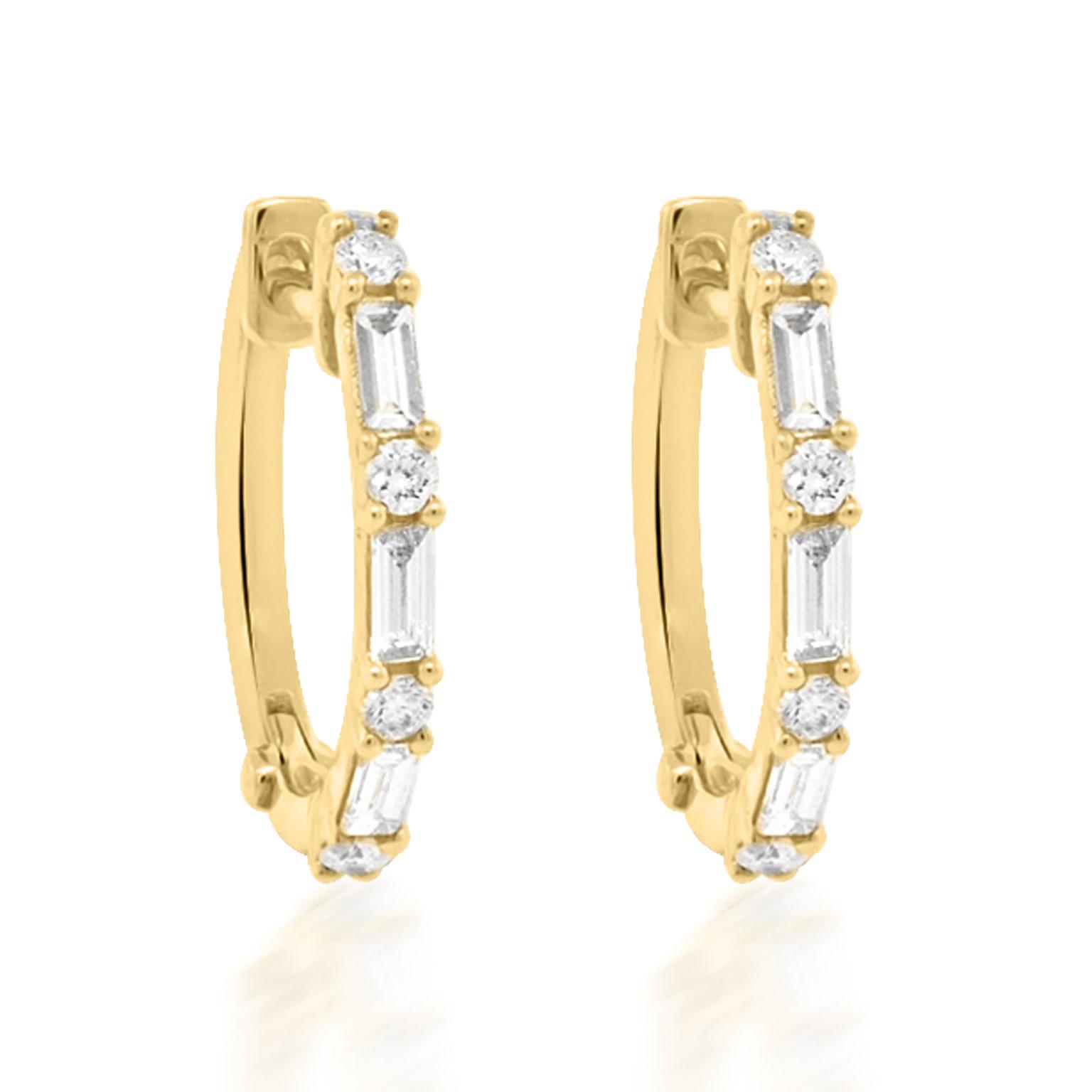 Trabert Goldsmiths Baguette and Round Diamond Hoop Earrings