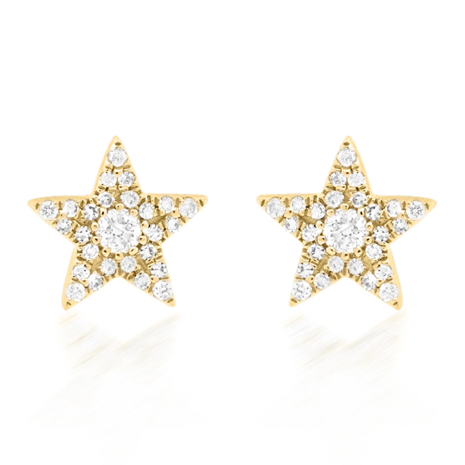 Trabert Goldsmiths Pave Diamond Star Stud Earrings