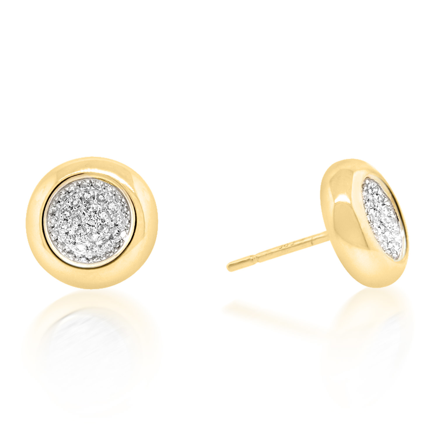 Trabert Goldsmiths Concave Pave Diamond Stud Earrings
