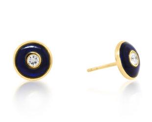 Trabert Goldsmiths Round Blue Enamel Diamond Stud Earrings E2275