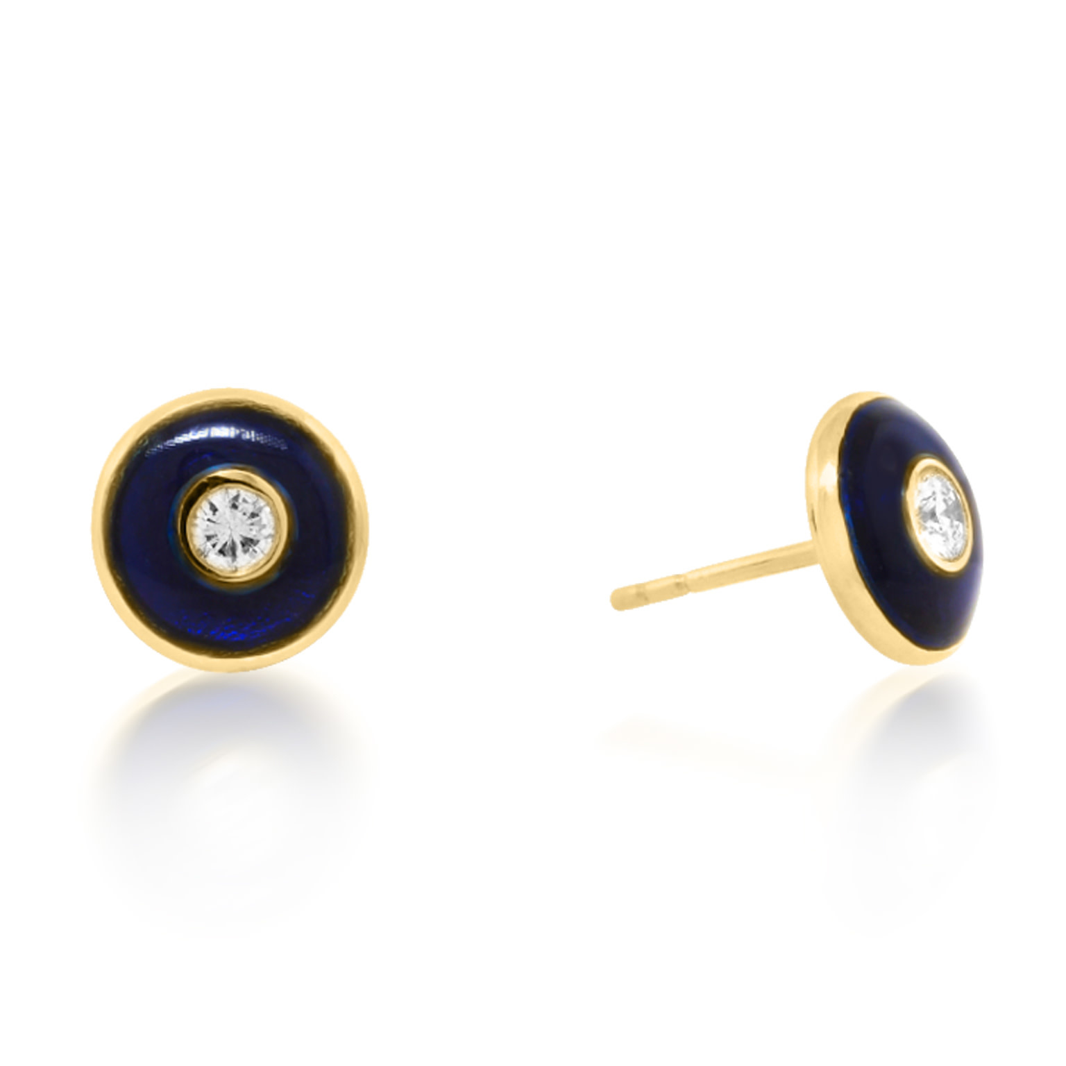 Trabert Goldsmiths Round Blue Enamel Diamond Stud Earrings