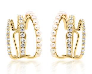 Trabert Goldsmiths Pearl and Diamond Triple Hoop Earrings E2276