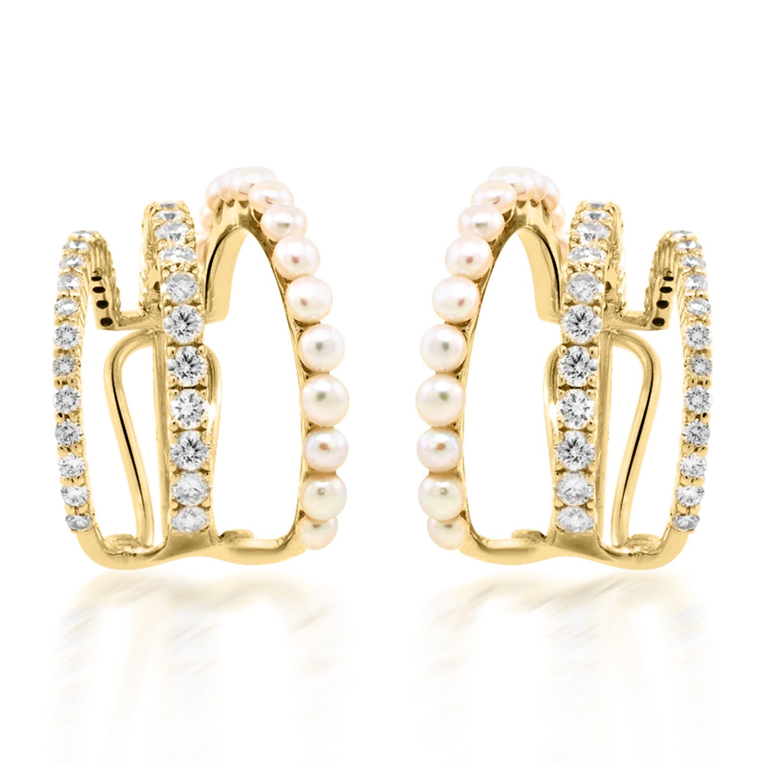 Trabert Goldsmiths Pearl and Diamond Triple Hoop Earrings