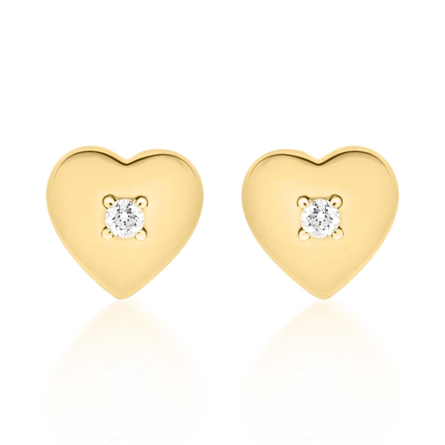 Trabert Goldsmiths Polished Gold Heart and Diamond Stud Earrings