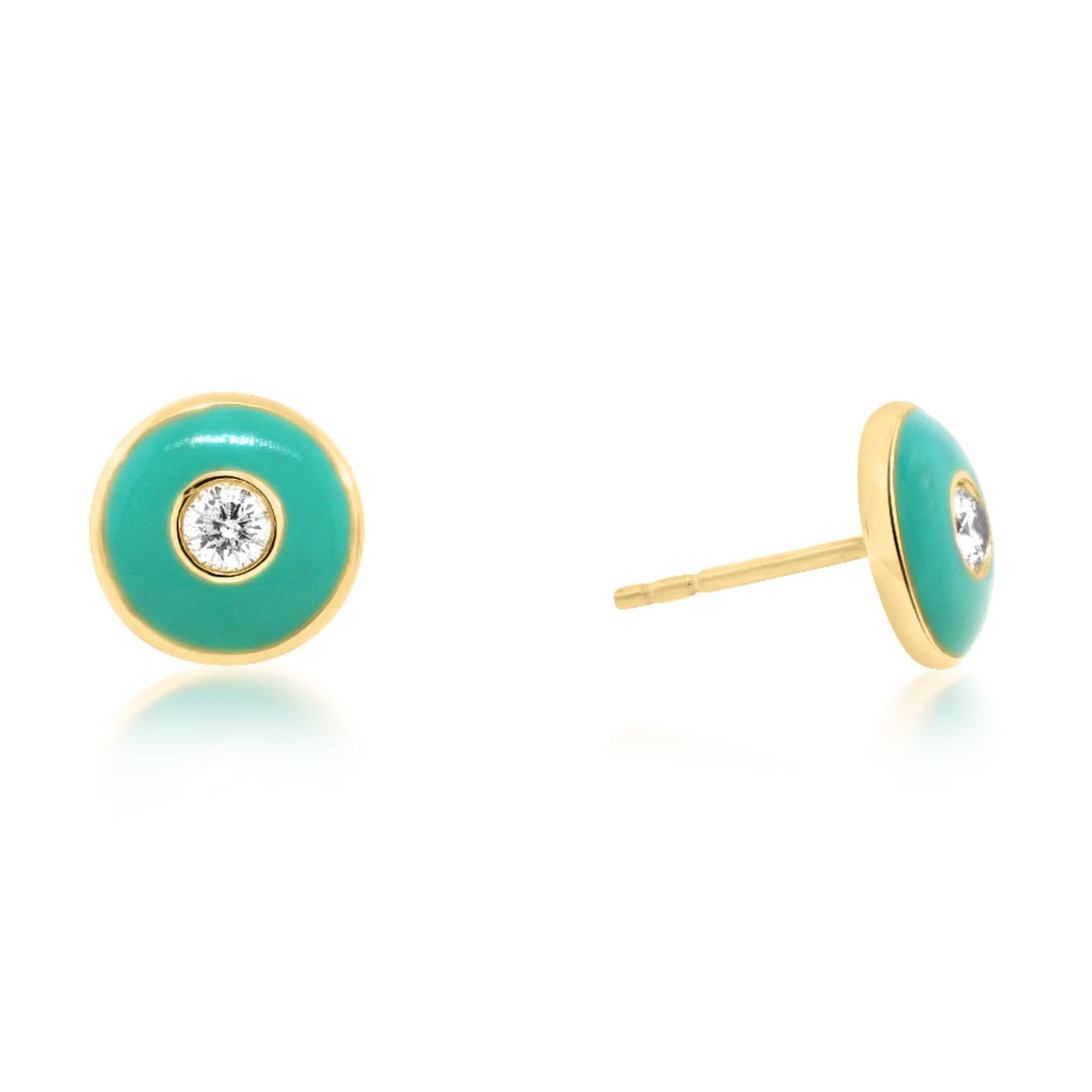 Trabert Goldsmiths Round Turquoise Diamond Enamel Earrings