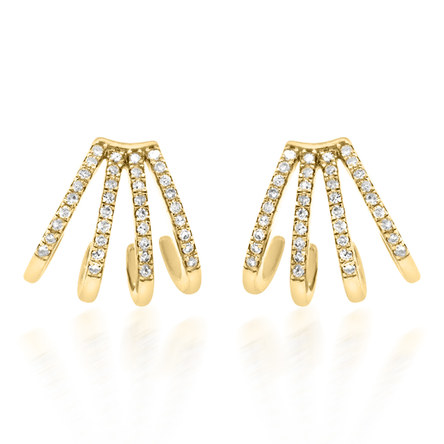 Trabert Goldsmiths Pave Diamond Cuff Huggie Hoop Earrings