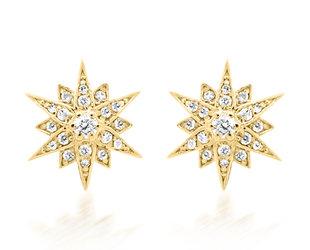 Trabert Goldsmiths Diamond Starburst Stud Earrings E2280