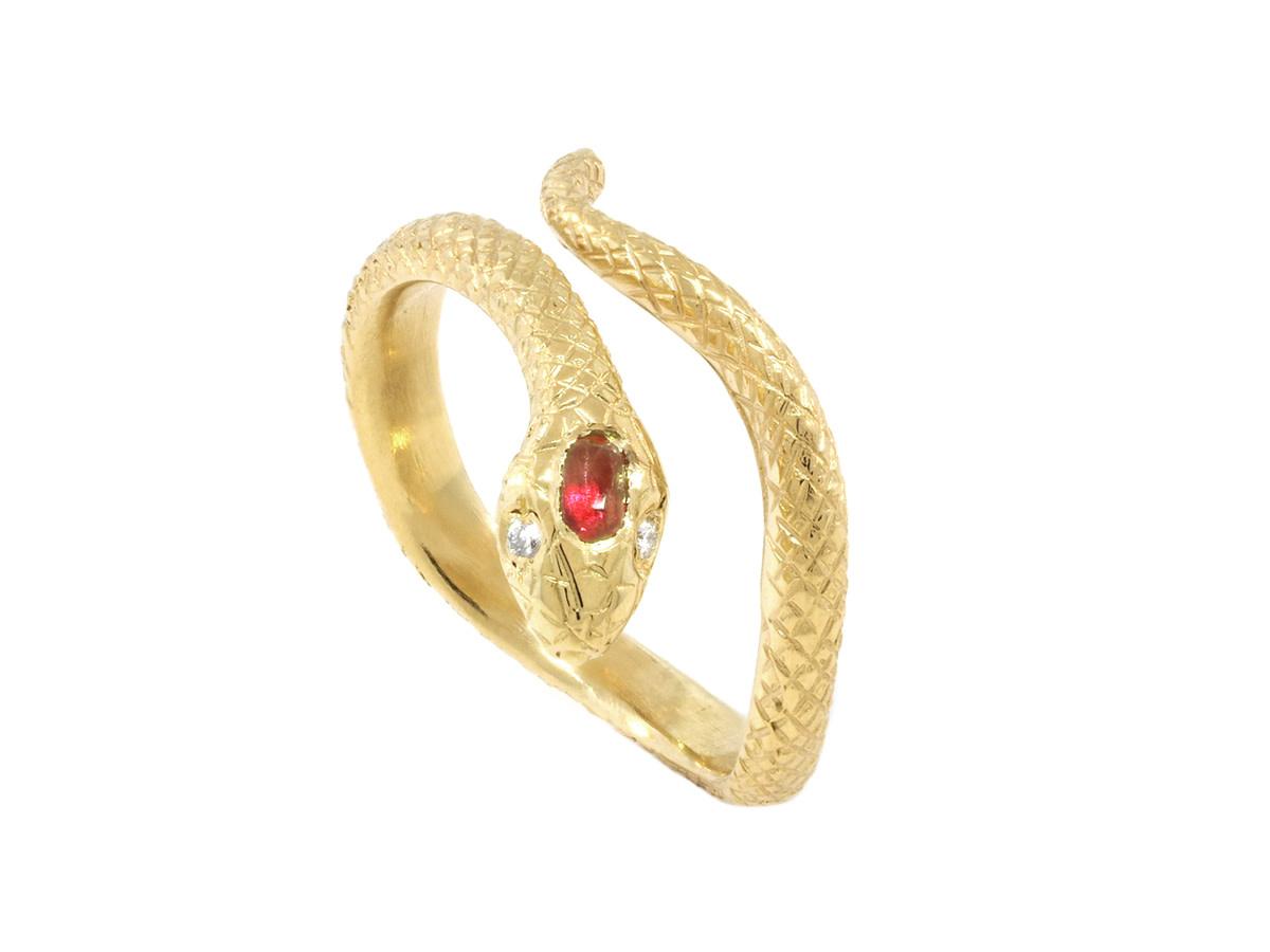 Trabert Goldsmiths Engraved Diamond Gold Snake Ring