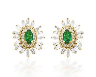Trabert Goldsmiths Oval Emerald Baguette Diamond Earrings E2281
