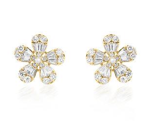 Trabert Goldsmiths Baguette Diamond Flower Stud Earrings E2282
