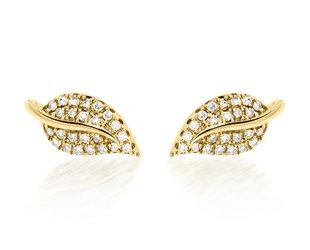 Trabert Goldsmiths Diamond Gold Leaf Stud Earrings E2283
